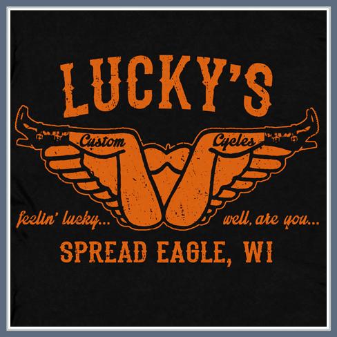 LUCKY'S CUSTOM CYCLES T SHIRT HARLEY DAVIDSON INDIAN BIKER TEE